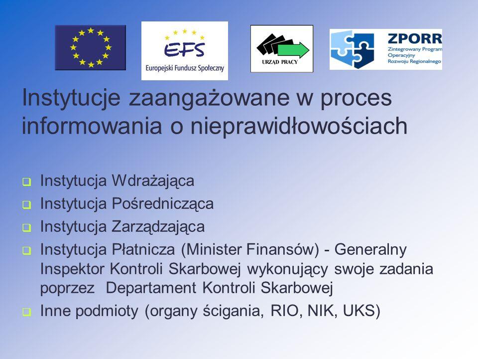Wyjątki od obowiązku raportowania do KE (zgodnie z Rozp.