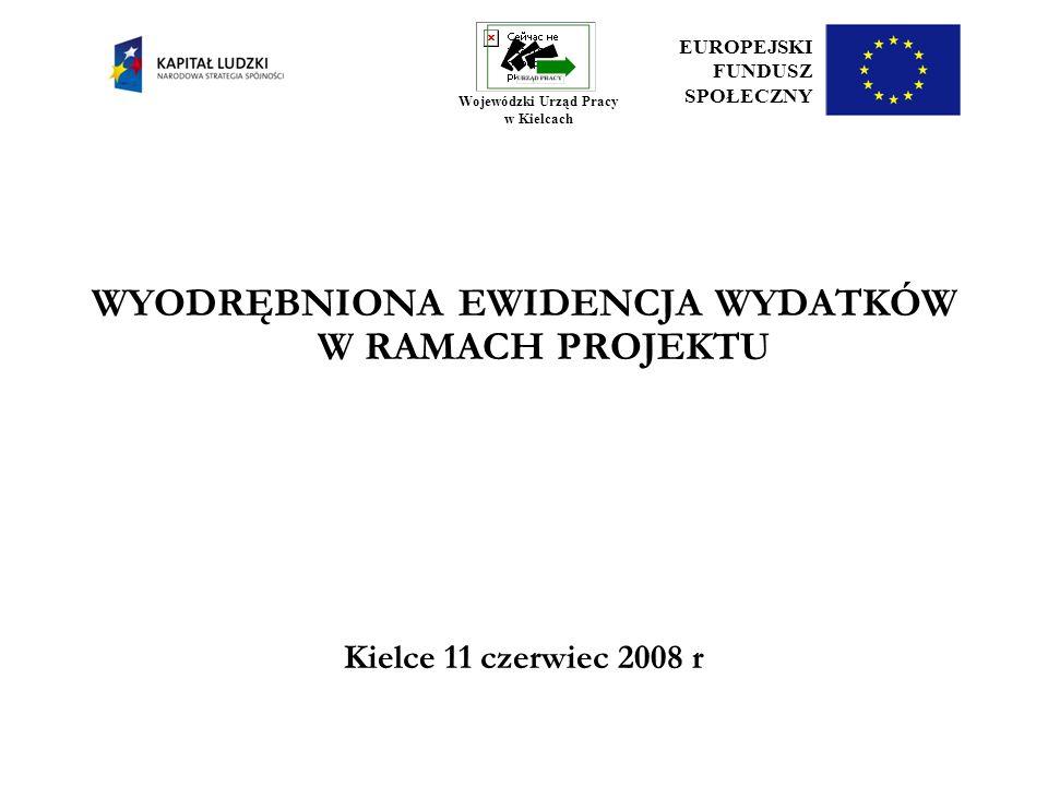 WYODRĘBNIONA EWIDENCJA WYDATKÓW W RAMACH PROJEKTU Kielce 11 czerwiec 2008 r EUROPEJSKI FUNDUSZ SPOŁECZNY Wojewódzki Urząd Pracy w Kielcach