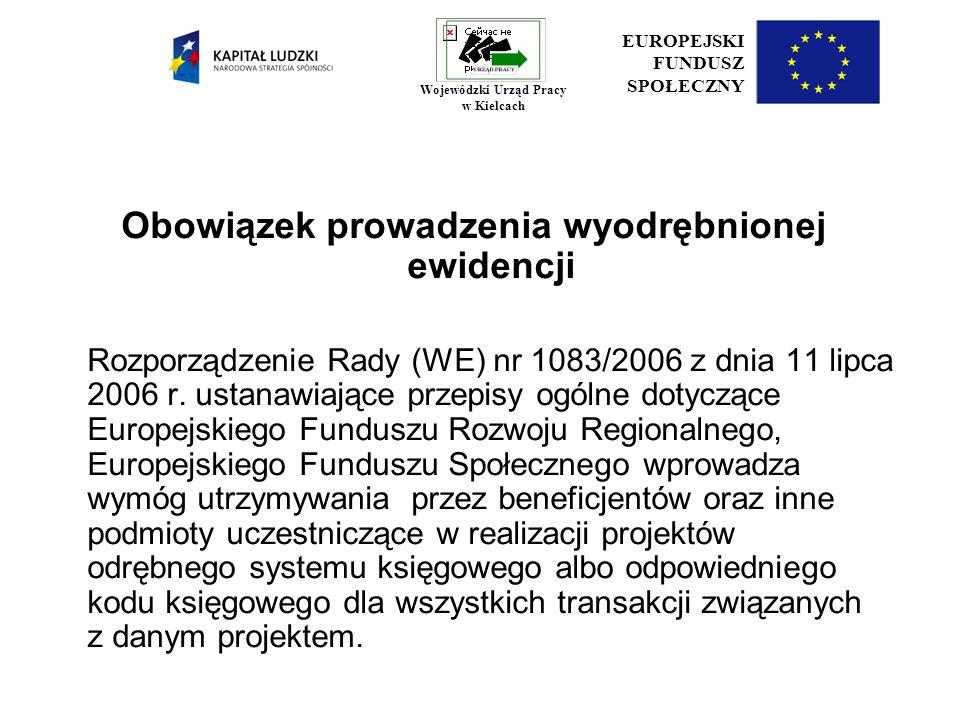 Podział beneficjentów ze względu na rodzaj prowadzonej ewidencji i możliwości jej wykorzystania w projekcie I.Beneficjenci prowadzący pełną księgowość II.Pozostali beneficjenci EUROPEJSKI FUNDUSZ SPOŁECZNY Wojewódzki Urząd Pracy w Kielcach