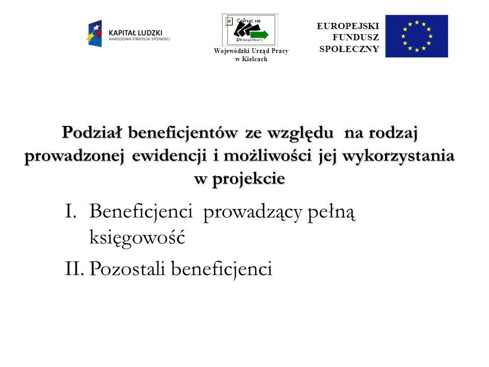Podział beneficjentów ze względu na rodzaj prowadzonej ewidencji i możliwości jej wykorzystania w projekcie I.Beneficjenci prowadzący pełną księgowość