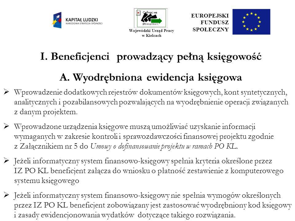 I. Beneficjenci prowadzący pełną księgowość A. Wyodrębniona ewidencja księgowa Wprowadzenie dodatkowych rejestrów dokumentów księgowych, kont syntetyc