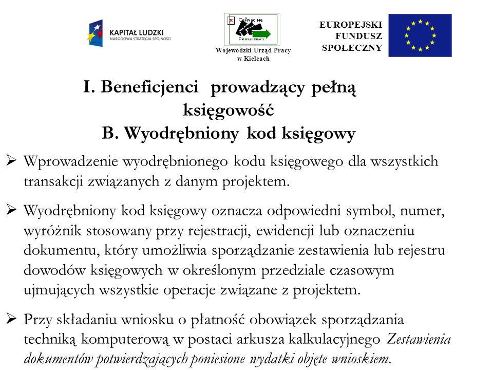 I. Beneficjenci prowadzący pełną księgowość B. Wyodrębniony kod księgowy Wprowadzenie wyodrębnionego kodu księgowego dla wszystkich transakcji związan