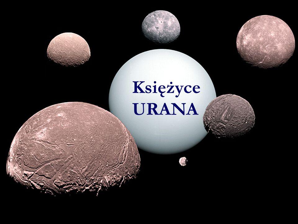 Pierścienie Urana na tym wyretuszowa- nym zdjęciu przypominają pierścienie Saturna, ich masa jest jednak równa zaledwie masie materiału w przerwie Cassiniego pierścieni Saturna.