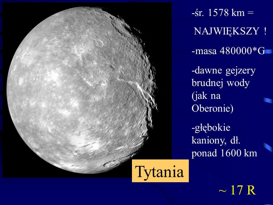 -śr. 1169 km, masa 159000*G - bliźniaczy jeśli chodzi o skład do Ariela - powierzchnia tak stara jak Oberona - Wunda Umbriel ~ 10,4 R