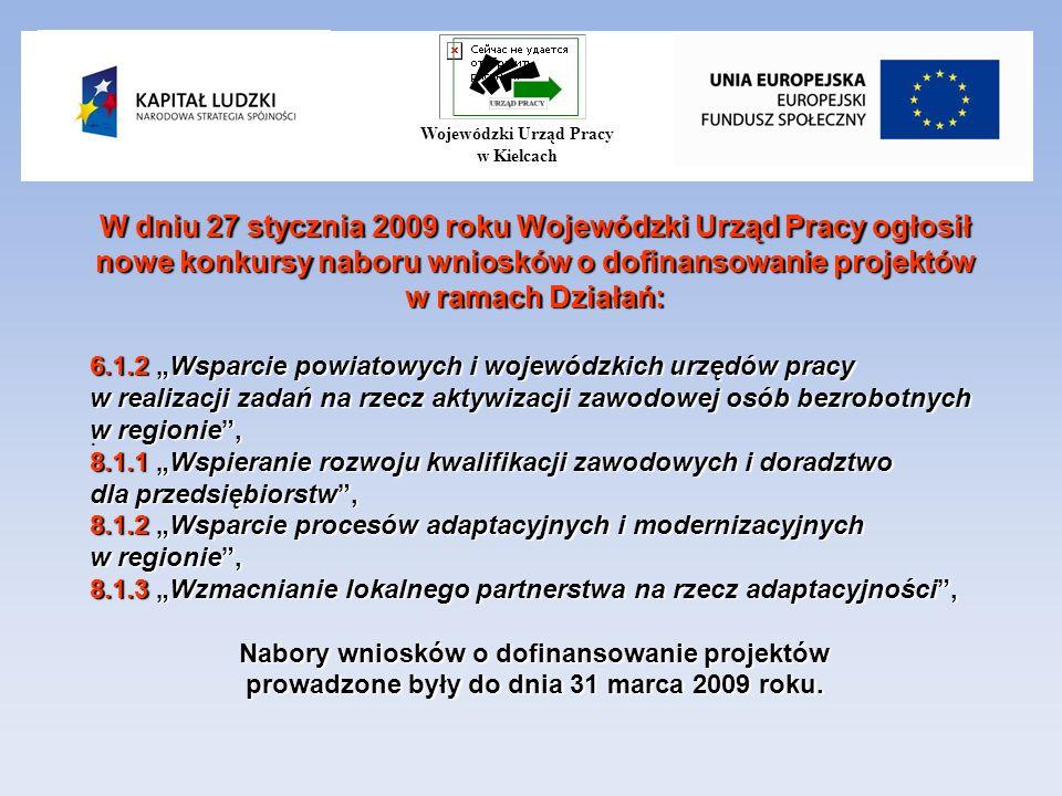 W dniu 27 stycznia 2009 roku Wojewódzki Urząd Pracy ogłosił nowe konkursy naboru wniosków o dofinansowanie projektów w ramach Działań: 6.1.2 Wsparcie powiatowych i wojewódzkich urzędów pracy w realizacji zadań na rzecz aktywizacji zawodowej osób bezrobotnych w regionie, 8.1.1 Wspieranie rozwoju kwalifikacji zawodowych i doradztwo dla przedsiębiorstw, 8.1.2 Wsparcie procesów adaptacyjnych i modernizacyjnych w regionie, 8.1.3 Wzmacnianie lokalnego partnerstwa na rzecz adaptacyjności, Nabory wniosków o dofinansowanie projektów prowadzone były do dnia 31 marca 2009 roku..