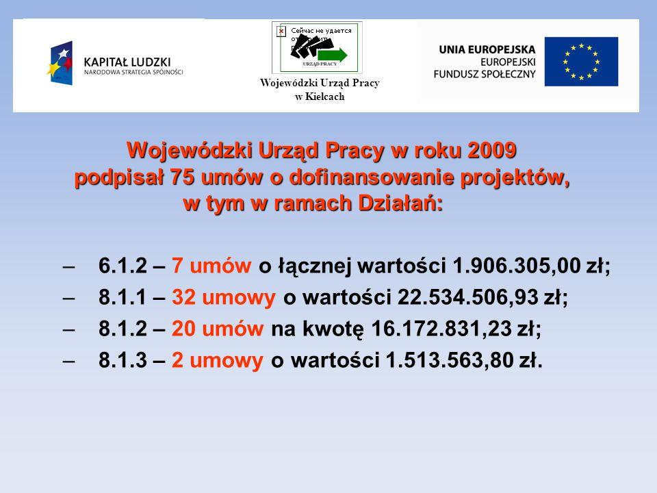 Wojewódzki Urząd Pracy w roku 2009 podpisał 75 umów o dofinansowanie projektów, w tym w ramach Działań: –6.1.2 – 7 umów o łącznej wartości 1.906.305,00 zł; –8.1.1 – 32 umowy o wartości 22.534.506,93 zł; –8.1.2 – 20 umów na kwotę 16.172.831,23 zł; –8.1.3 – 2 umowy o wartości 1.513.563,80 zł.