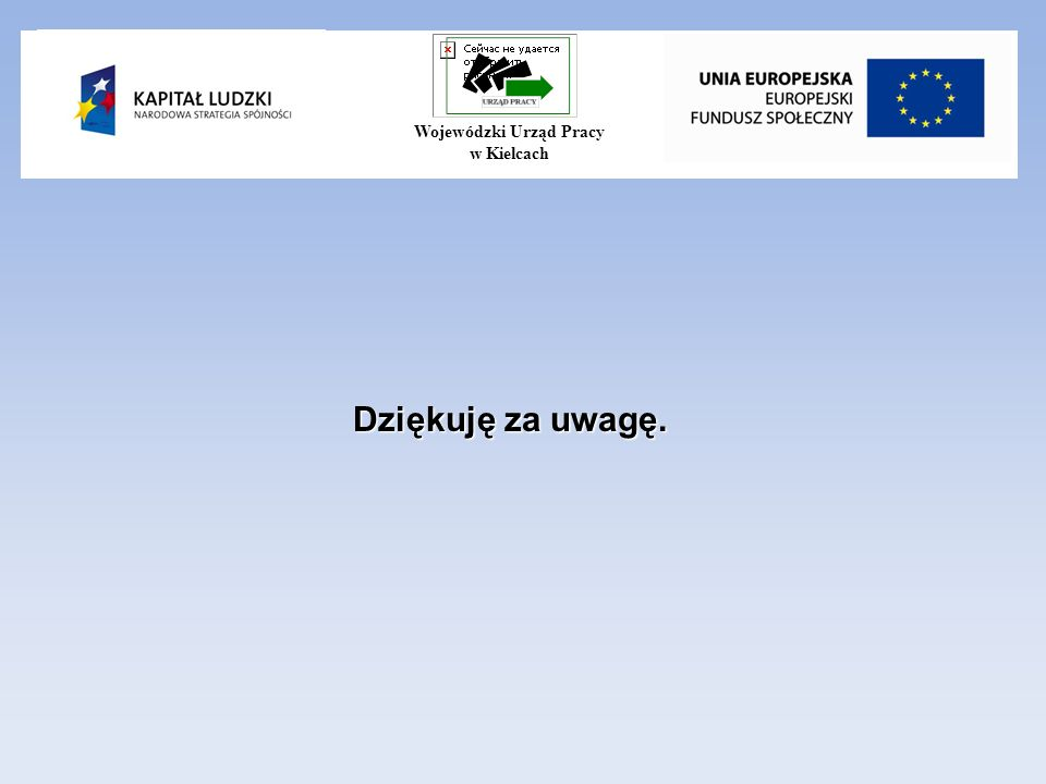 Dziękuję za uwagę. Wojewódzki Urząd Pracy w Kielcach