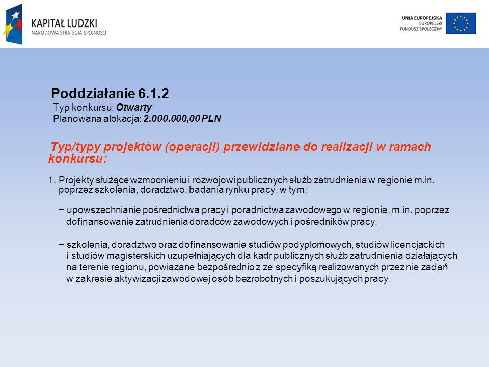 Poddziałanie 6.1.2 Typ konkursu: Otwarty Planowana alokacja: 2.000.000,00 PLN Typ/typy projektów (operacji) przewidziane do realizacji w ramach konkursu: 1.