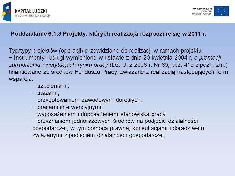 Poddziałanie 6.1.3 Projekty, których realizacja rozpocznie się w 2011 r.