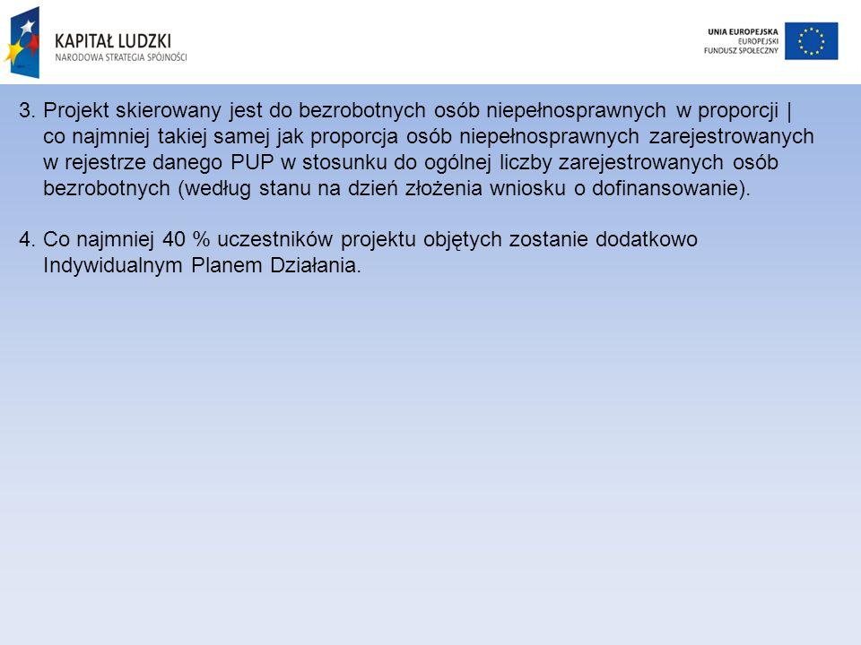 3. Projekt skierowany jest do bezrobotnych osób niepełnosprawnych w proporcji | co najmniej takiej samej jak proporcja osób niepełnosprawnych zarejest