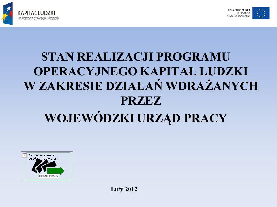 STAN REALIZACJI PROGRAMU OPERACYJNEGO KAPITAŁ LUDZKI W ZAKRESIE DZIAŁAŃ WDRAŻANYCH PRZEZ WOJEWÓDZKI URZĄD PRACY Luty 2012