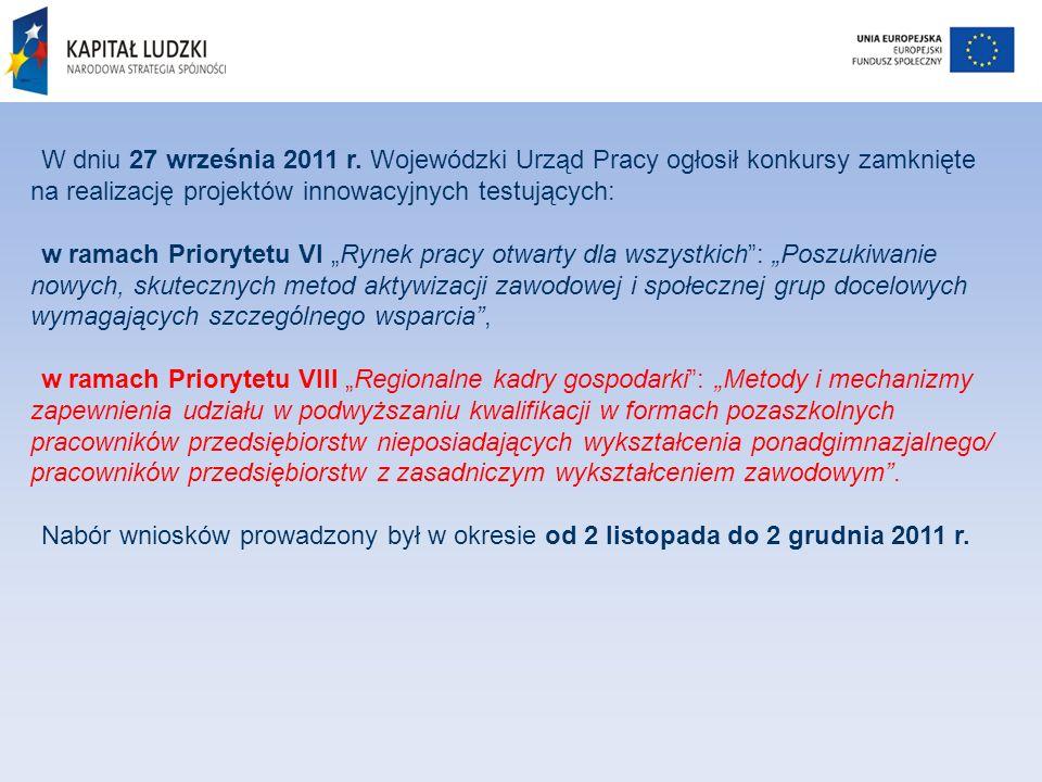 W dniu 27 września 2011 r. Wojewódzki Urząd Pracy ogłosił konkursy zamknięte na realizację projektów innowacyjnych testujących: w ramach Priorytetu VI