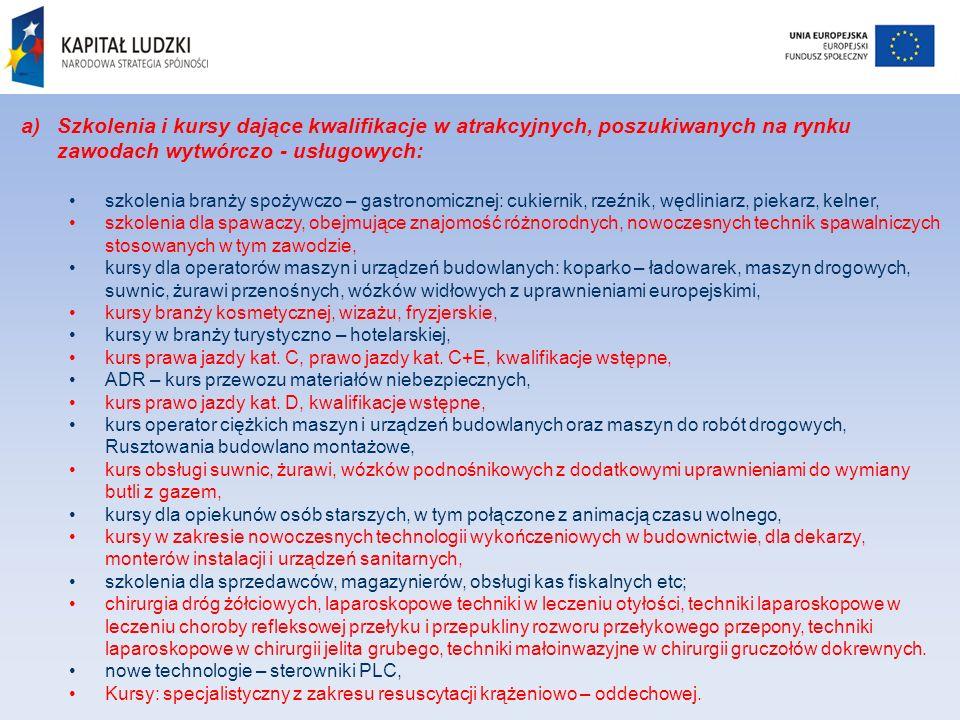 a)Szkolenia i kursy dające kwalifikacje w atrakcyjnych, poszukiwanych na rynku zawodach wytwórczo - usługowych: szkolenia branży spożywczo – gastronom