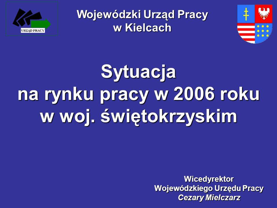 Sytuacja na rynku pracy w 2006 roku w woj. świętokrzyskim Wicedyrektor Wojewódzkiego Urzędu Pracy Cezary Mielczarz Wojewódzki Urząd Pracy w Kielcach