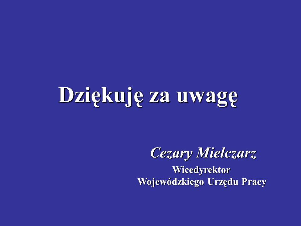 Dziękuję za uwagę Cezary Mielczarz Wicedyrektor Wojewódzkiego Urzędu Pracy