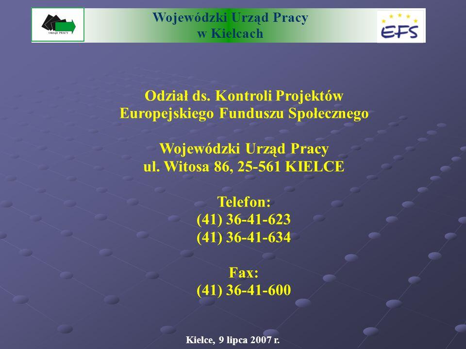 Wojewódzki Urząd Pracy w Kielcach Odział ds.