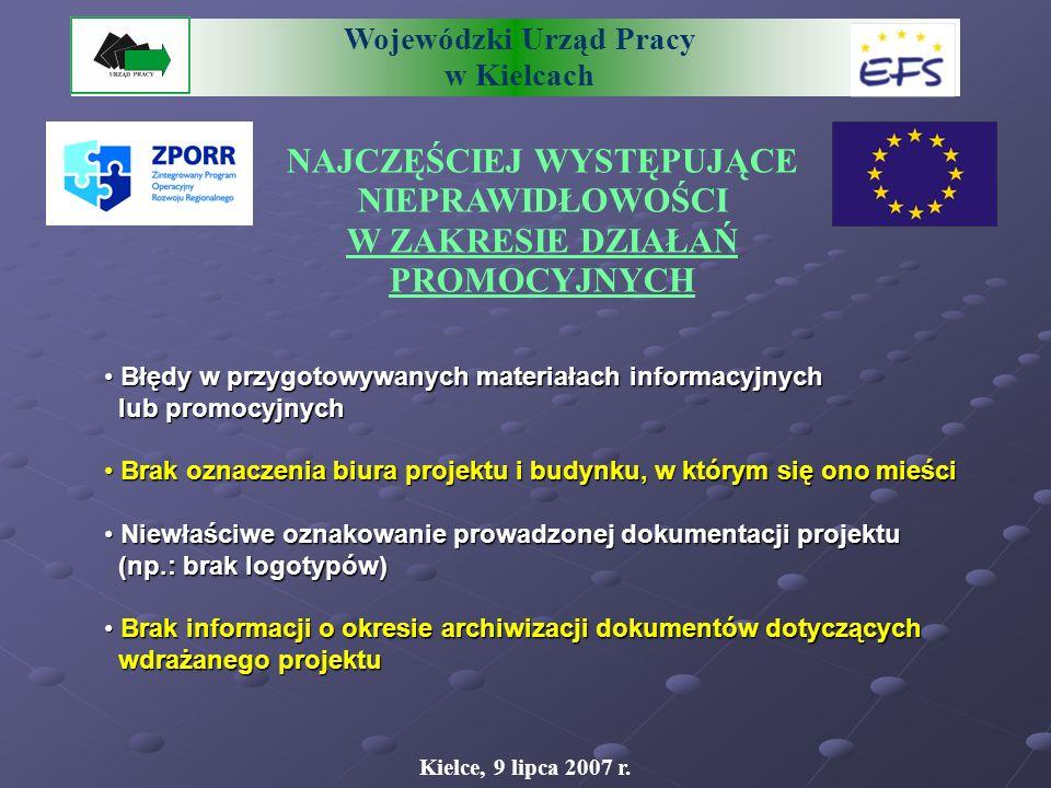 Wojewódzki Urząd Pracy w Kielcach NAJCZĘŚCIEJ WYSTĘPUJĄCE NIEPRAWIDŁOWOŚCI W ZAKRESIE ZATRUDNIANIA KADRY REALIZUJĄCEJ PROJEKT Kielce, 9 lipca 2007 r.