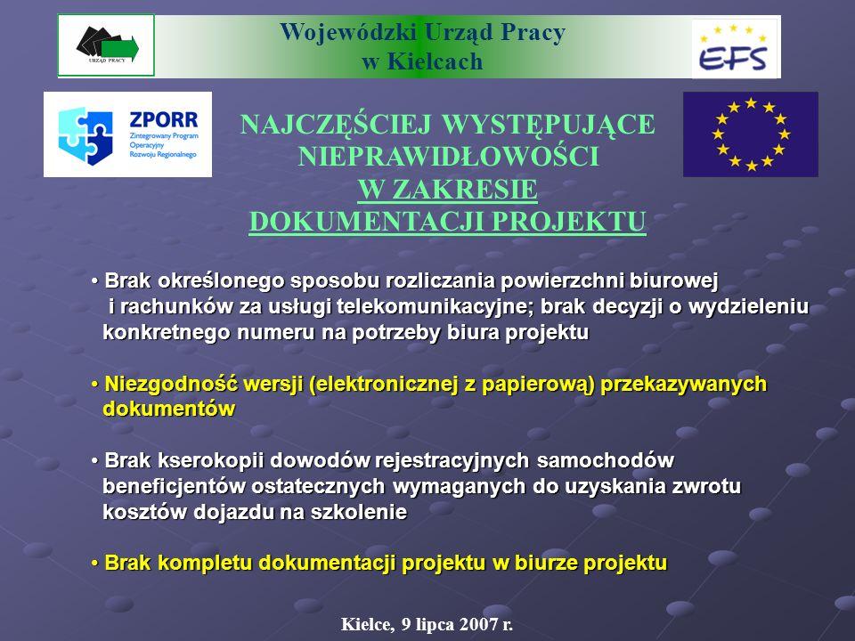 Wojewódzki Urząd Pracy w Kielcach NAJCZĘŚCIEJ WYSTĘPUJĄCE NIEPRAWIDŁOWOŚCI W ZAKRESIE SPRAWOZDAWCZOŚCI Kielce, 9 lipca 2007 r.