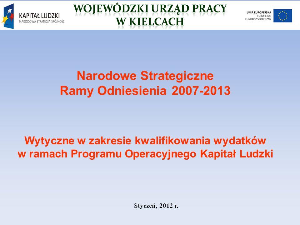 Narodowe Strategiczne Ramy Odniesienia 2007-2013 Wytyczne w zakresie kwalifikowania wydatków w ramach Programu Operacyjnego Kapitał Ludzki Styczeń, 2012 r.