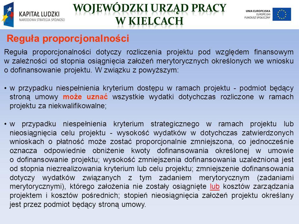 Reguła proporcjonalności Reguła proporcjonalności dotyczy rozliczenia projektu pod względem finansowym w zależności od stopnia osiągnięcia założeń merytorycznych określonych we wniosku o dofinansowanie projektu.