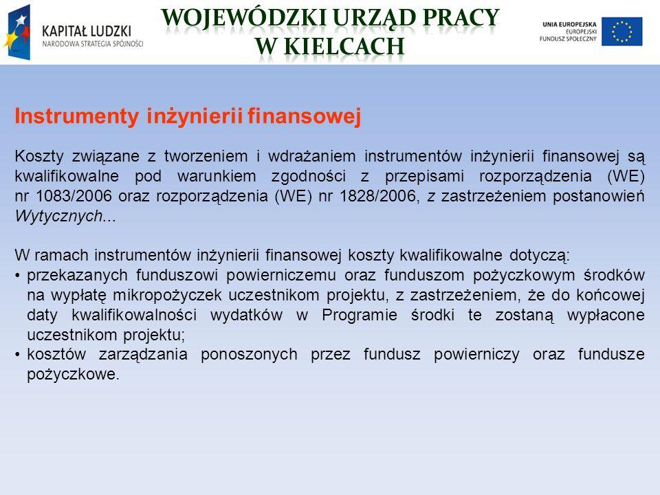 Instrumenty inżynierii finansowej Koszty związane z tworzeniem i wdrażaniem instrumentów inżynierii finansowej są kwalifikowalne pod warunkiem zgodności z przepisami rozporządzenia (WE) nr 1083/2006 oraz rozporządzenia (WE) nr 1828/2006, z zastrzeżeniem postanowień Wytycznych...