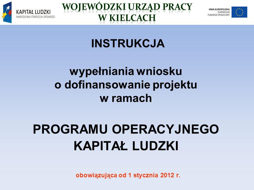 INSTRUKCJA wypełniania wniosku o dofinansowanie projektu w ramach PROGRAMU OPERACYJNEGO KAPITAŁ LUDZKI obowiązująca od 1 stycznia 2012 r.