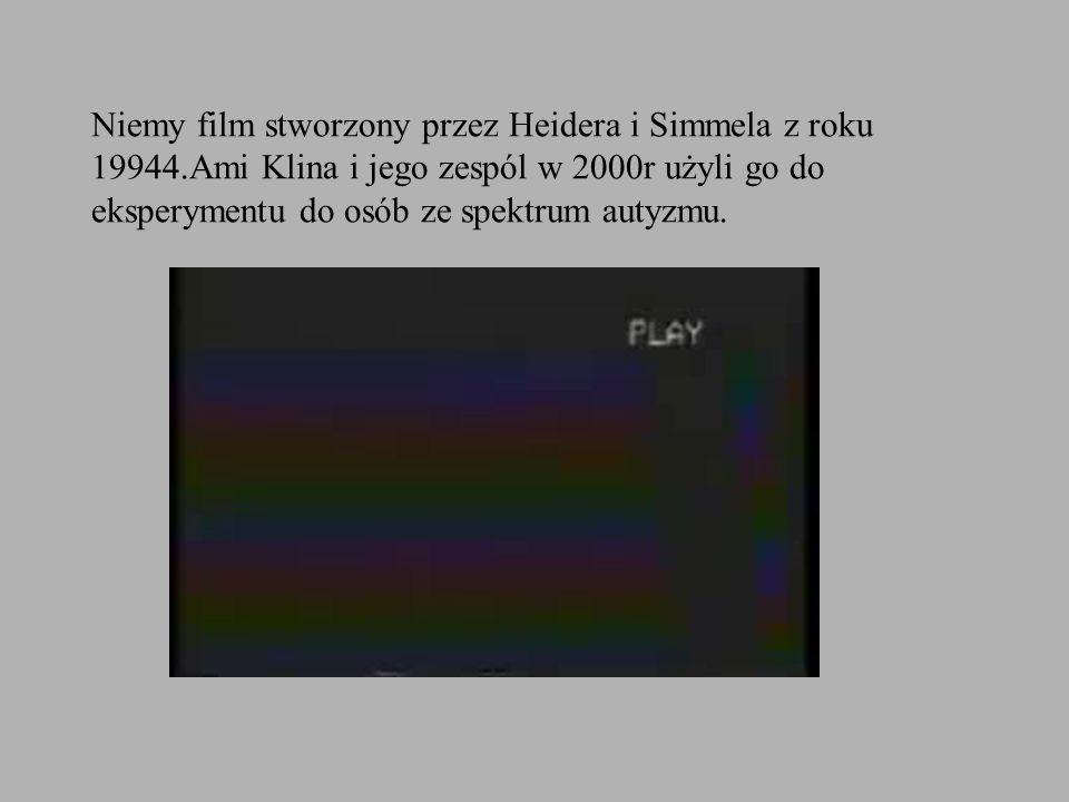 Niemy film stworzony przez Heidera i Simmela z roku 19944.Ami Klina i jego zespól w 2000r użyli go do eksperymentu do osób ze spektrum autyzmu.