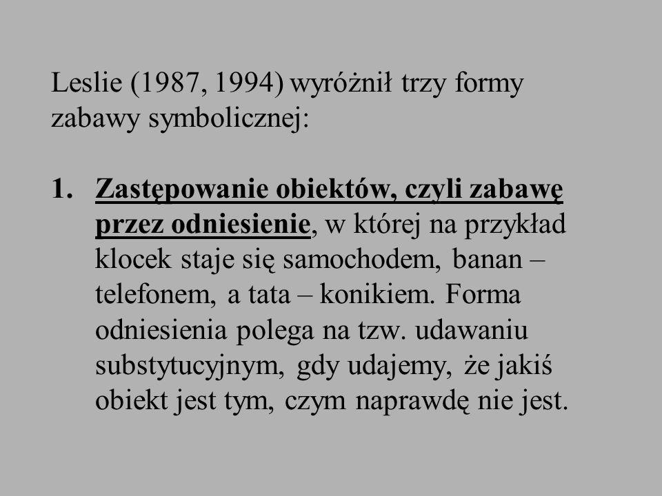 Leslie (1987, 1994) wyróżnił trzy formy zabawy symbolicznej: 1. Zastępowanie obiektów, czyli zabawę przez odniesienie, w której na przykład klocek sta