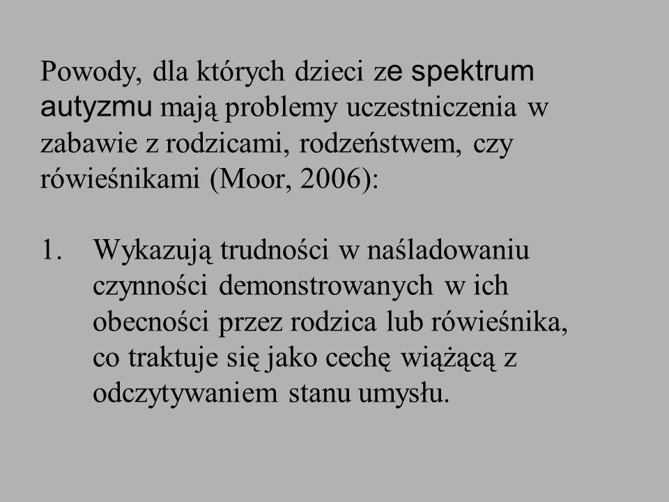 Powody, dla których dzieci z e spektrum autyzmu mają problemy uczestniczenia w zabawie z rodzicami, rodzeństwem, czy rówieśnikami (Moor, 2006): 1. Wyk