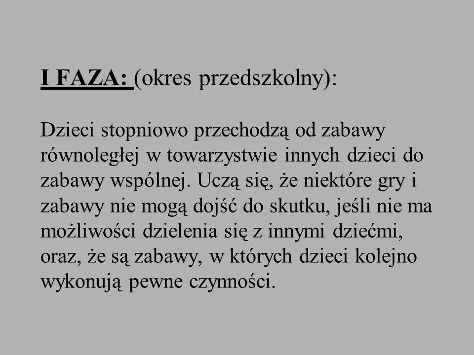 I FAZA: (okres przedszkolny): Dzieci stopniowo przechodzą od zabawy równoległej w towarzystwie innych dzieci do zabawy wspólnej. Uczą się, że niektóre