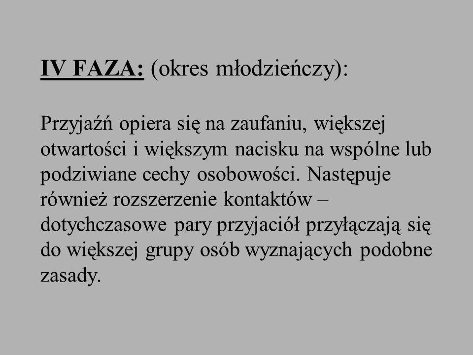 IV FAZA: (okres młodzieńczy): Przyjaźń opiera się na zaufaniu, większej otwartości i większym nacisku na wspólne lub podziwiane cechy osobowości. Nast