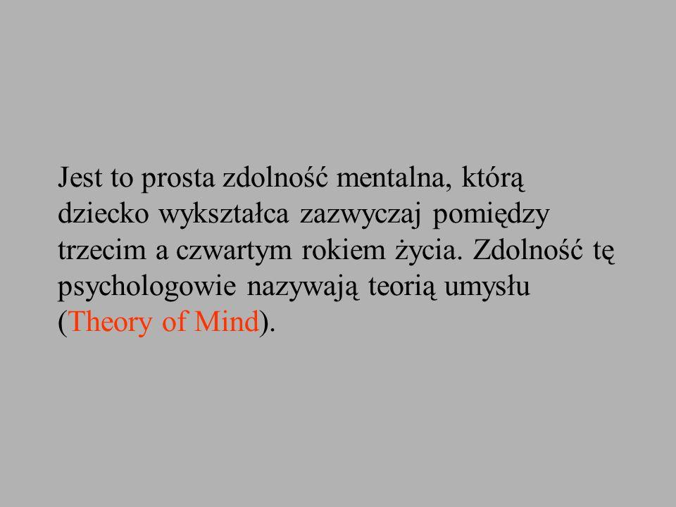Jest to prosta zdolność mentalna, którą dziecko wykształca zazwyczaj pomiędzy trzecim a czwartym rokiem życia. Zdolność tę psychologowie nazywają teor