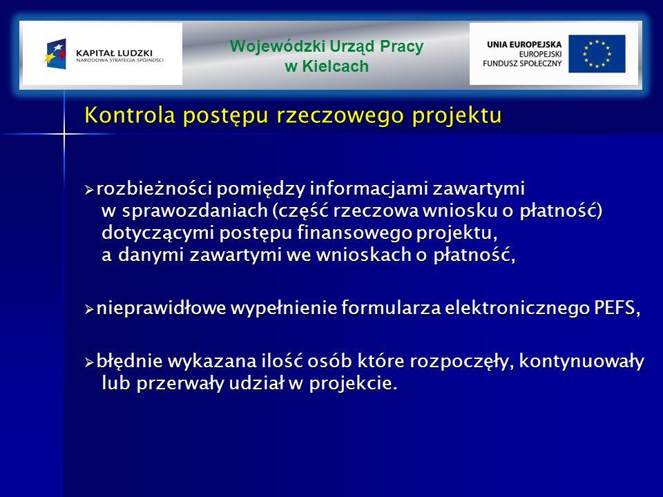 Kontrola postępu rzeczowego projektu rozbieżności pomiędzy informacjami zawartymi w sprawozdaniach (część rzeczowa wniosku o płatność) dotyczącymi postępu finansowego projektu, a danymi zawartymi we wnioskach o płatność, rozbieżności pomiędzy informacjami zawartymi w sprawozdaniach (część rzeczowa wniosku o płatność) dotyczącymi postępu finansowego projektu, a danymi zawartymi we wnioskach o płatność, nieprawidłowe wypełnienie formularza elektronicznego PEFS, nieprawidłowe wypełnienie formularza elektronicznego PEFS, błędnie wykazana ilość osób które rozpoczęły, kontynuowały lub przerwały udział w projekcie.