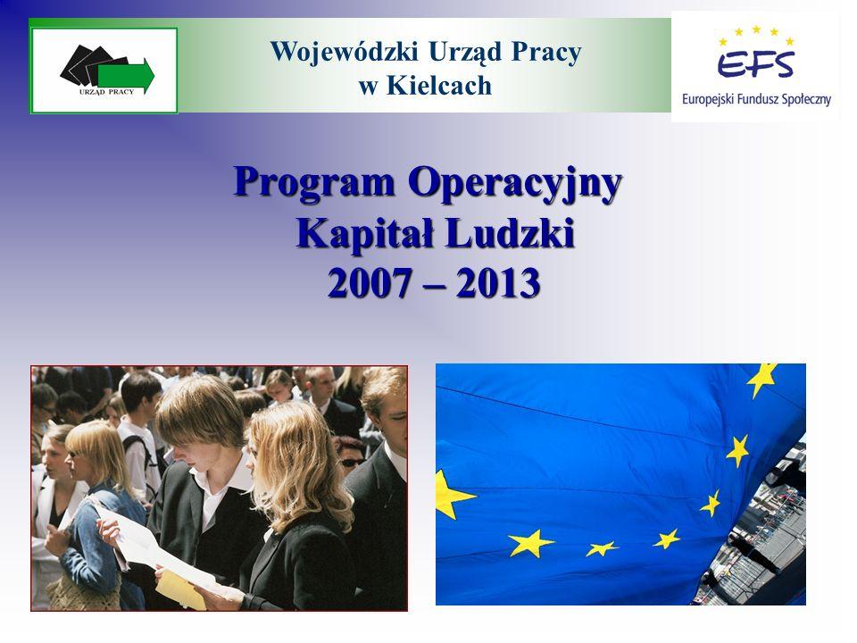 Program Operacyjny Kapitał Ludzki 2007 – 2013 Program Operacyjny Kapitał Ludzki 2007 – 2013 Wojewódzki Urząd Pracy w Kielcach