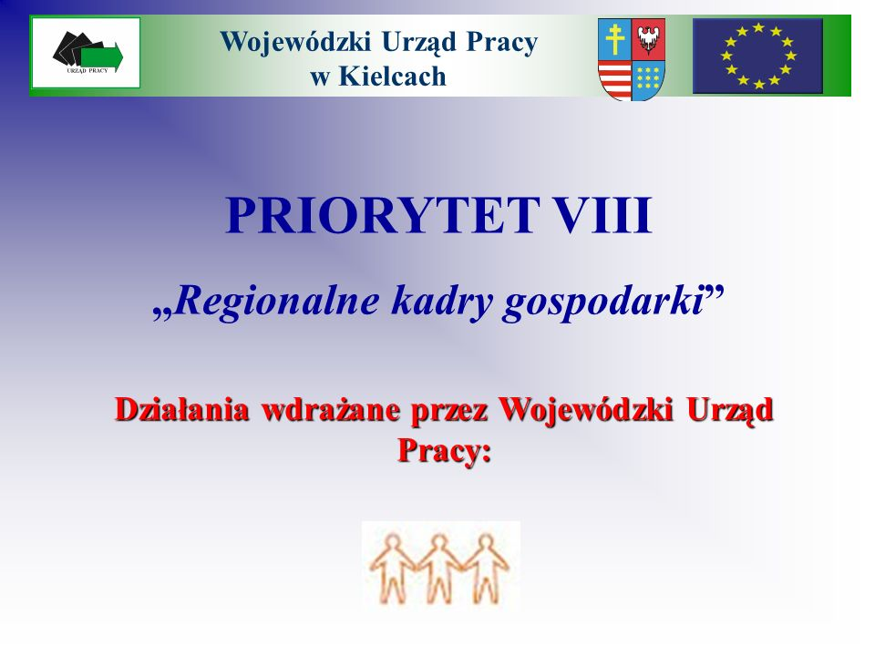 PRIORYTET VIII Regionalne kadry gospodarki Działania wdrażane przez Wojewódzki Urząd Pracy: