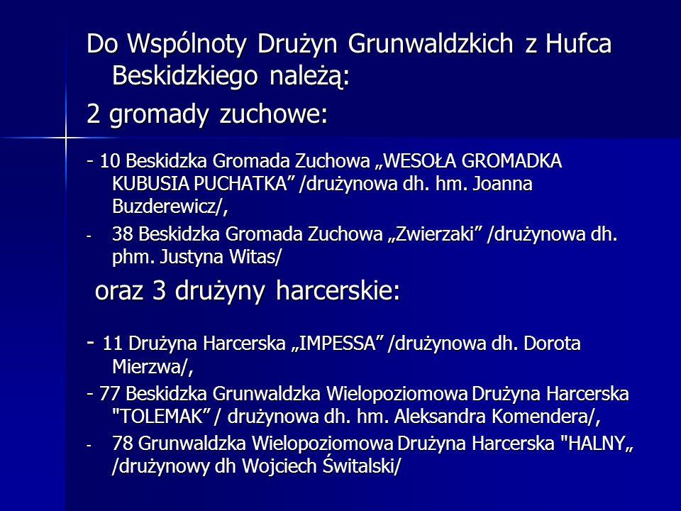 Do Wspólnoty Drużyn Grunwaldzkich z Hufca Beskidzkiego należą: 2 gromady zuchowe: - 10 Beskidzka Gromada Zuchowa WESOŁA GROMADKA KUBUSIA PUCHATKA /dru