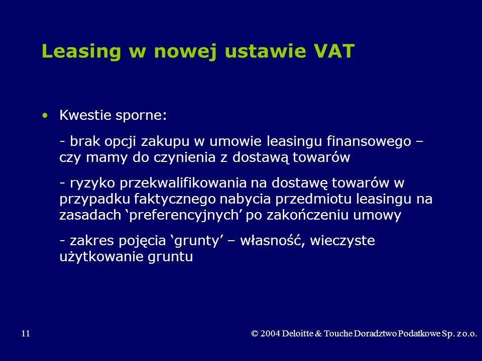 11© 2004 Deloitte & Touche Doradztwo Podatkowe Sp. z o.o. Leasing w nowej ustawie VAT Kwestie sporne: - brak opcji zakupu w umowie leasingu finansoweg
