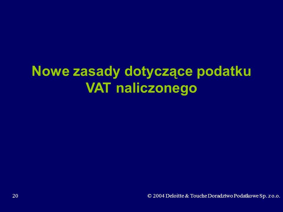 20© 2004 Deloitte & Touche Doradztwo Podatkowe Sp. z o.o. Nowe zasady dotyczące podatku VAT naliczonego