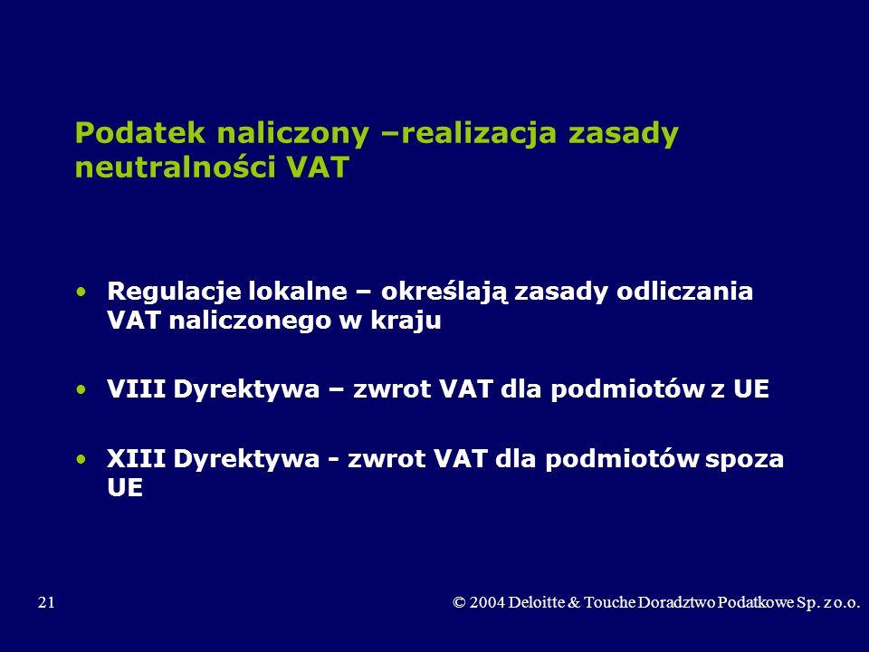 21© 2004 Deloitte & Touche Doradztwo Podatkowe Sp. z o.o. Podatek naliczony –realizacja zasady neutralności VAT Regulacje lokalne – określają zasady o