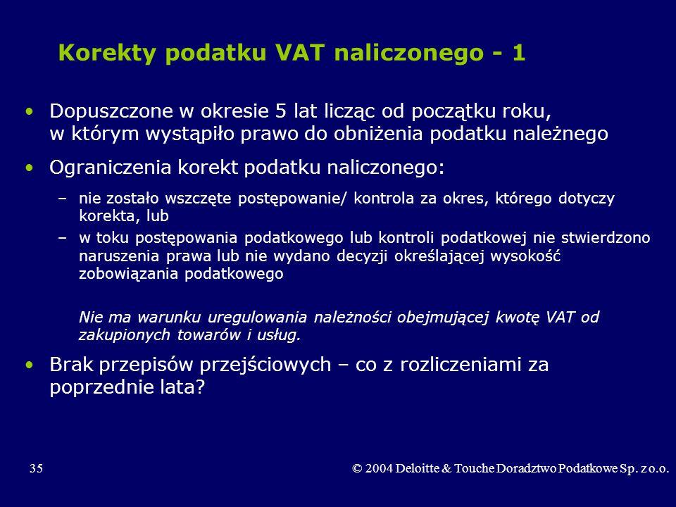 35© 2004 Deloitte & Touche Doradztwo Podatkowe Sp. z o.o. Korekty podatku VAT naliczonego - 1 Dopuszczone w okresie 5 lat licząc od początku roku, w k