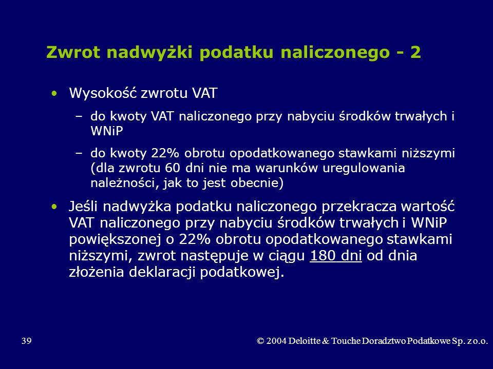 39© 2004 Deloitte & Touche Doradztwo Podatkowe Sp. z o.o. Zwrot nadwyżki podatku naliczonego - 2 Wysokość zwrotu VAT –do kwoty VAT naliczonego przy na