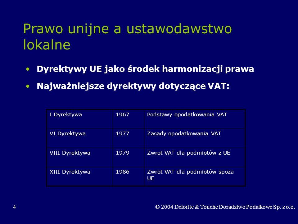 4© 2004 Deloitte & Touche Doradztwo Podatkowe Sp. z o.o. Prawo unijne a ustawodawstwo lokalne Dyrektywy UE jako środek harmonizacji prawa Najważniejsz