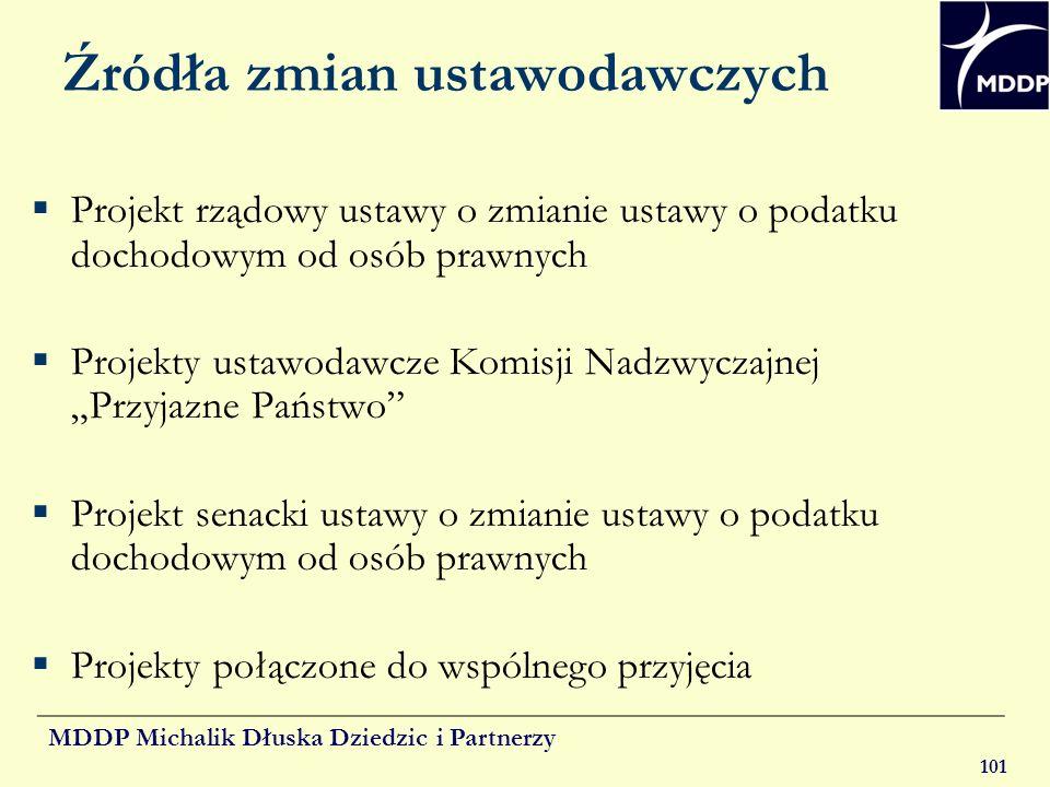 MDDP Michalik Dłuska Dziedzic i Partnerzy 101 Źródła zmian ustawodawczych Projekt rządowy ustawy o zmianie ustawy o podatku dochodowym od osób prawnyc
