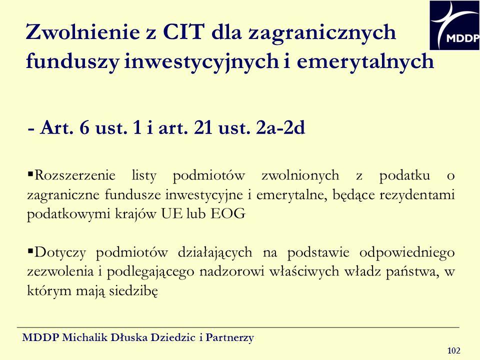 MDDP Michalik Dłuska Dziedzic i Partnerzy 102 Zwolnienie z CIT dla zagranicznych funduszy inwestycyjnych i emerytalnych Rozszerzenie listy podmiotów z