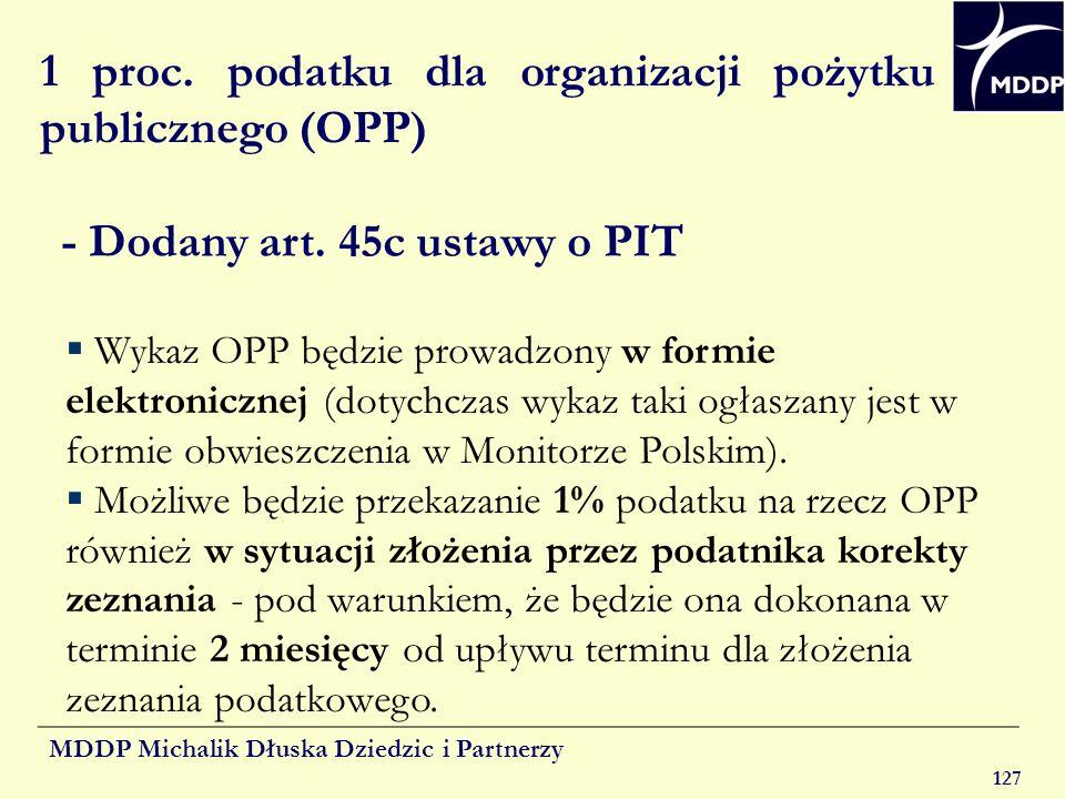MDDP Michalik Dłuska Dziedzic i Partnerzy 127 1 proc. podatku dla organizacji pożytku publicznego (OPP) - Dodany art. 45c ustawy o PIT Wykaz OPP będzi