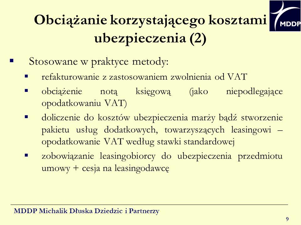 MDDP Michalik Dłuska Dziedzic i Partnerzy 9 Obciążanie korzystającego kosztami ubezpieczenia (2) Stosowane w praktyce metody: refakturowanie z zastoso