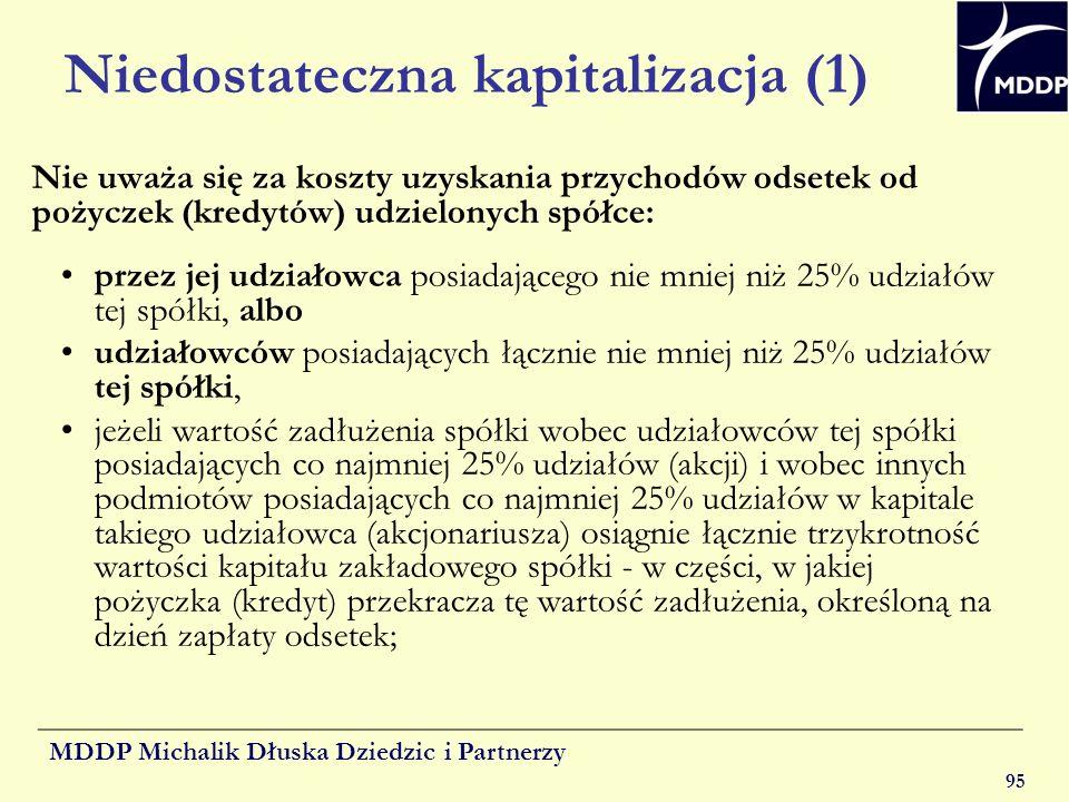 MDDP Michalik Dłuska Dziedzic i Partnerzy 95 Niedostateczna kapitalizacja (1) Nie uważa się za koszty uzyskania przychodów odsetek od pożyczek (kredyt
