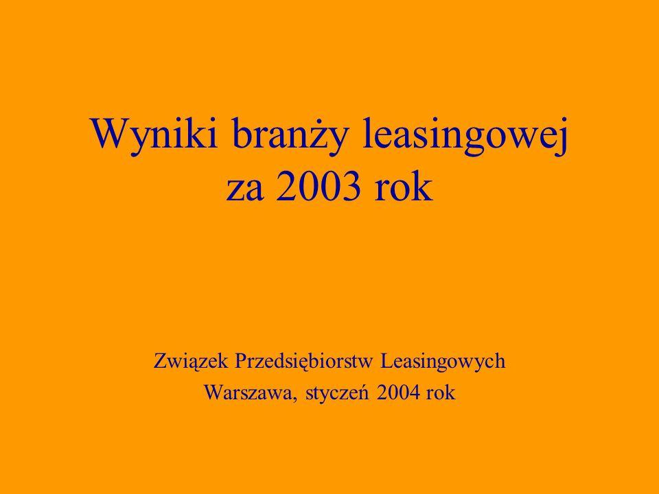 Związek Przedsiębiorstw Leasingowych Warszawa, styczeń 2004 rok Wyniki branży leasingowej za 2003 rok