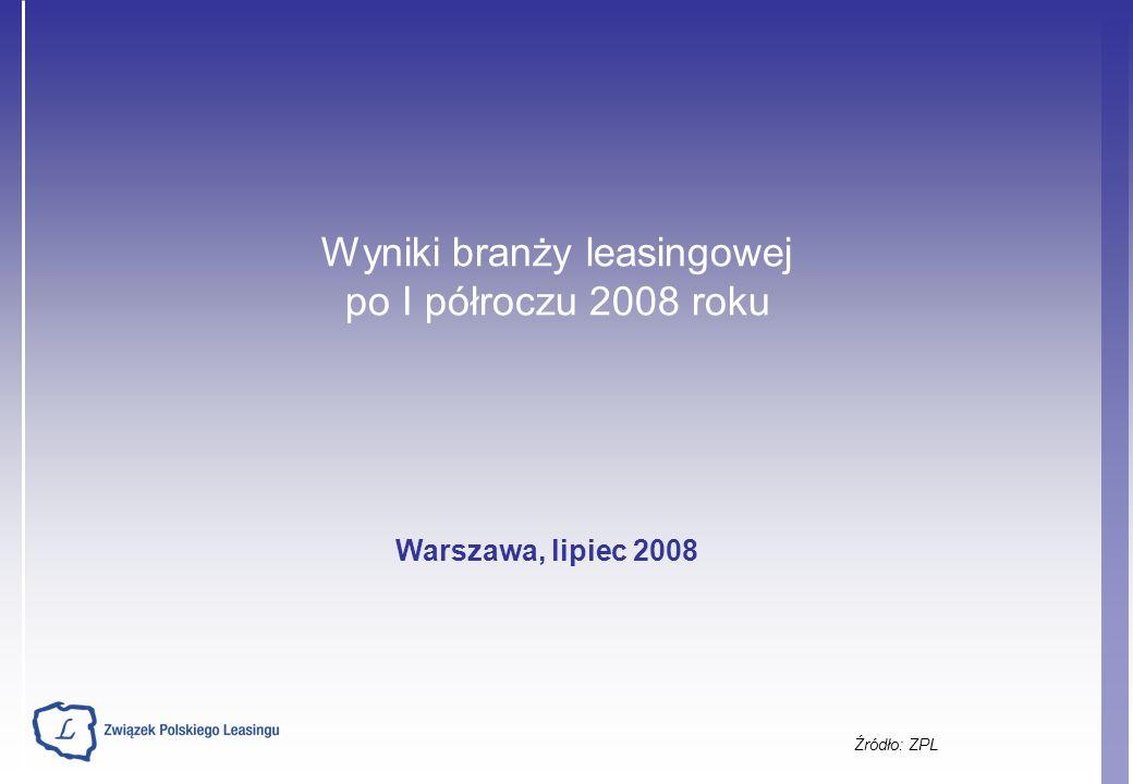 Wyniki branży leasingowej po I półroczu 2008 roku Źródło: ZPL Warszawa, lipiec 2008