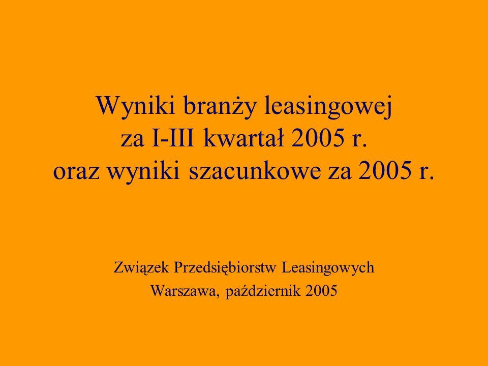 Związek Przedsiębiorstw Leasingowych Warszawa, październik 2005 Wyniki branży leasingowej za I-III kwartał 2005 r.